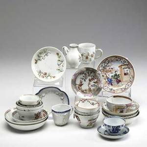 Chinese export grouping of twelve cups and saucers in various designs and styles all 18th19th c largest 4 34 x 2 12