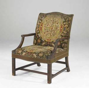 English tapestry armchair upholstered with needlepoint seat and back 19th c 28 x 25 x 39