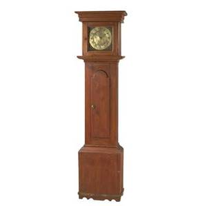 English grandfather clock red painted pine brass works signed jon belling jun bodmin 30 hour single weight 18th c 76 12