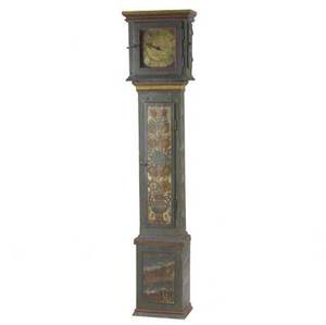 English grandfather clock painted floral decoration 18th c 15 x 9 12 x 72