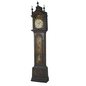 English grandfather clock painted dial and chinoiserie decoration 18th19th c 96