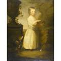 18th c portrait untitled girl with rabbit and dog oil on canvas framed 47 12 x 39 12