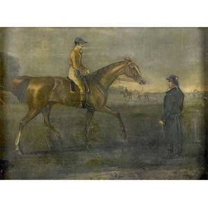 19th c british sporting scene jockey and groom at the meet handcolored engraving mounted on a wood panelframed 9 12 x 11 12