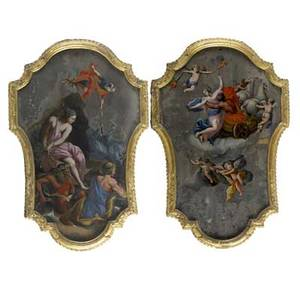 Pair of painted panels two mythological scenes oil on board mounted in shieldshaped giltwood frames 18th19th c 30 x 18 irregular