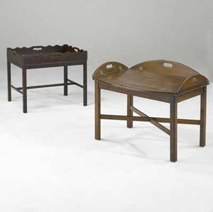 English butlers tray tables two oak tables 19th c 22 x 28 x 18