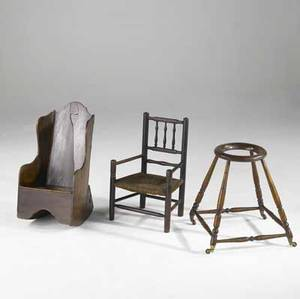 English childrens furniture three items rocking potty baby tender and a childs chair 18th19th c largest 26 x 14 x 15