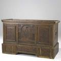 Continental blanket chest carved wood with painted panels on separate base 17th c 59 x 25 12 x 37