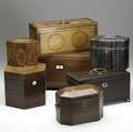 English boxes seven assorted boxes include tea caddies and document boxes all 19th c largest 8 14 x 12 x 5 12