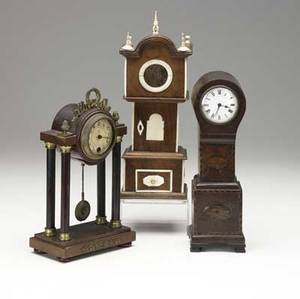 English clocks three pieces ivory decorated watch hutch together with miniature grandfather clock and columned shelf clock all 19th c tallest 13