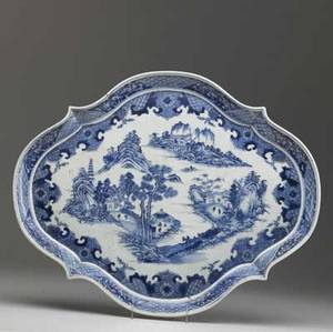 Chinese export blue and white serving platter with landscape decoration 19th c restored 18 12 x 15