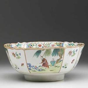 Chinese export deep bowl with scalloped rim decorated with asian figures ca 17501760 repairs and restorations 5 x 11 dia
