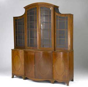 English regency breakfront inlaid mahogany with serpentine front and french feet 19th c 74 x 24 x 94