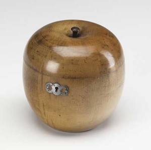 English fruitwood carved tea caddy in the shape of an apple 19th c 5