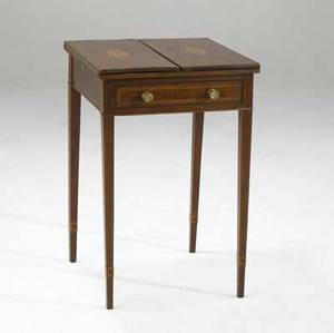 English hepplewhite writing table inlaid wood with flip top and drawer ca 1820 18 x 18 x 27 12
