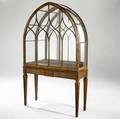 English cabinet gothic display cabinet with mirrored back and glass shelves not shown 19th c 80 x 48 12 x 17