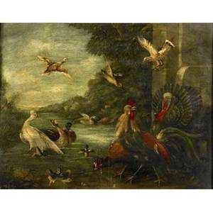 John king british 17881847 untitled exotic fowl in landscape oil on canvas framed 1832 signed and dated on verso 28 x 38
