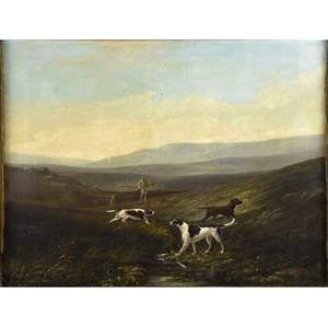 J bradley british ca 1843 untitled hunters and dogs oil on canvas framed signed 23 x 30 12