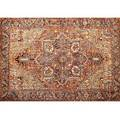 Heriz oriental roomsize carpet with red background and repeating geometric design some repair 156 x 120