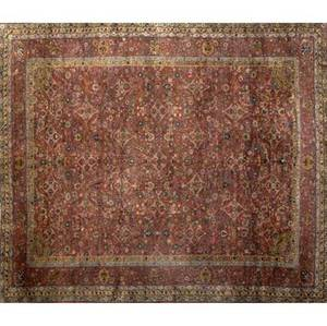 Persian oriental carpet with rose ground and tricolor banded border ca 19301940 158 x 128