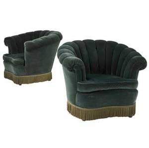 Art deco pair of club chairs upholstered in green mohair with fringe trim 33 12 x 42 x 37