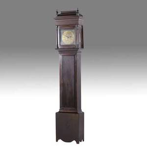 Joseph wills grandfather clock thirtyhour philadelphia clock with brass dial and works in walnut case 19th c 96 x 22 x 12