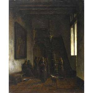 Willem hendrick eickelberg dutch 18451920 untitled in the monastery oil on panel signed 15 14 x 12