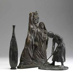 Bronze grouping three pieces include woman with hoe signed hobson kraus dated 1922 bronze of a man with sword and woman with a child signed ispanky japanese vase with fish relief decoration larg