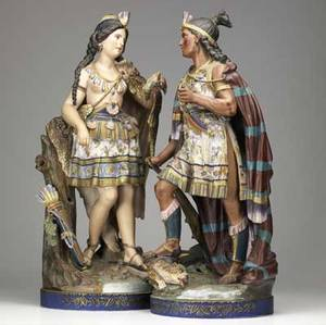 Continental bisque monumental figurines of a native american man and woman in traditional dress probably french or german 19th c losses to both taller 26 34