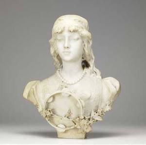 Italian marble bust of a young woman with a tambourine 19th c 21