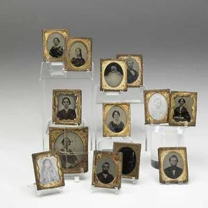 Ambrotypes grouping of thirteen assorted images ca 1860 largest 2 34 x 3 14