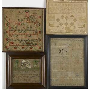 English needlework four piece grouping includes three samplers dated 1741 1832 and 1836 together with a cross stitch in frame largest 10 14 x 13 14