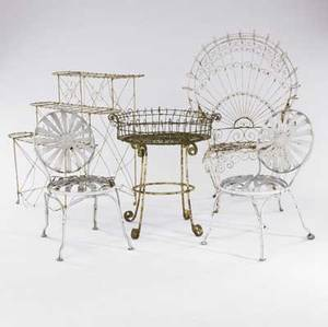 Garden furniture five pieces include two wire plant stands one wire armchair and two side chairs 20th c 41 x 26 x 23