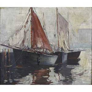 Pennsylvania artists two oil on canvas paintings framed cesare a ricciardi american 18921970 sailboats 16 x 20 drew meyer american 20th c sailboats in harbor 29 x 31 both sig