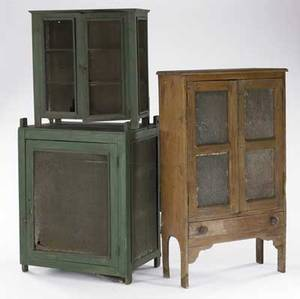 English pierced pie safe together with two hanging pie safes with screened panels all 19th c 31 12 x 14 x 53 12