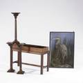 Three english pedestals etc mahogany together with a game board and grotesque bird in case case 20 12 x 11 x 30
