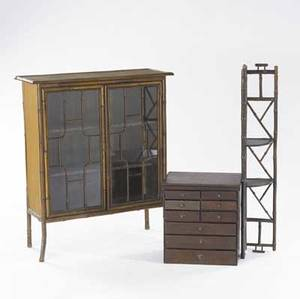 Twodoor rattan bookcase together with corner shelf and specimen cabinet largest 30 x 11 x 36