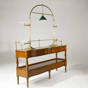 Victorian server mahogany with brass gallery and pullout shelves along with brass illuminated serving stand brass manufacturers tag server 43 x 66 x 16 stand 47 x 59 x 11