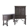 Jacobean style partial dining room set in walnut set includes sideboard china cabinet and table 19th20th c table 30 x 66 x 42