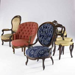 Seven victorian chairs set of four together with three parlor chairs all 19th c largest 27 x 27 x 42