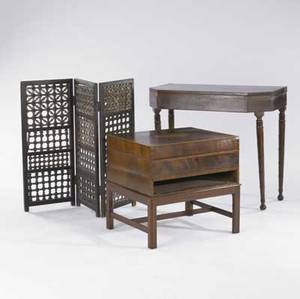 English furniture assorted grouping includes card table three section screen and inlaid box on stand missing drawer 19th c 29 x 33 14 x 6 12