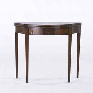 Federal style card table mahogany with serpentine front and inlay 19th c 36 x 30 x 18