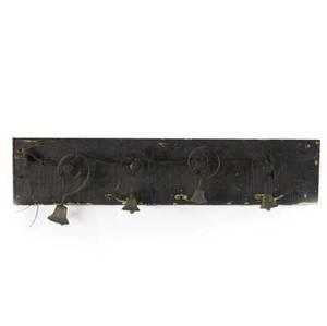 Servants bells mounted on wooden board 19th c board 10 x 42