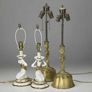 Parianware etc pair of lamp bases each in the form of a classical maiden with gilt decoration together with a pair of dore bronze lamps parianware 20 x 7