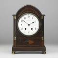 Je caldwell  co mantle clock mahogany dome top and case french time and strike movement 20th c 5 12 x 9 12 x 14 12