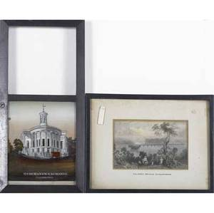 Historic prints and artworks five pieces framed n currier american 18131888 wm penns treaty with the indians color lithograph john bachelder american 18251894 lynn mass color