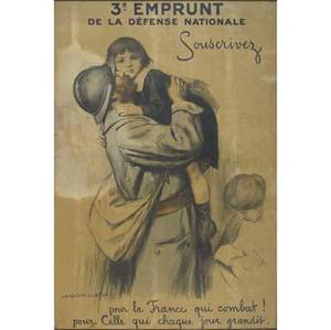 Auguste leroux french 18711954 3e emprunt de la defense nationale color lithograph framed 43 x 23 sight