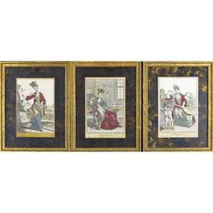 Jeremias wolff german 16631724 the months of the year suite of twelve hand colored engravings framed signed in the plate 10 12 x 7 plate
