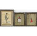 Six european watercolors and engravings two fashion illustrations gouache on gray paper signed m marais three english hand colored engravings coat of arms watercolor 19th c all framed larges