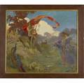 Allegorical painting untitled lute player and maidens oil on board framed 25 x 28