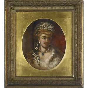 19th c portraits two untitled oil on canvas paintings framed alice renshaw british 19th c portrait of a lady signed 14 x 12 orientalist figure unsigned 18 x 12